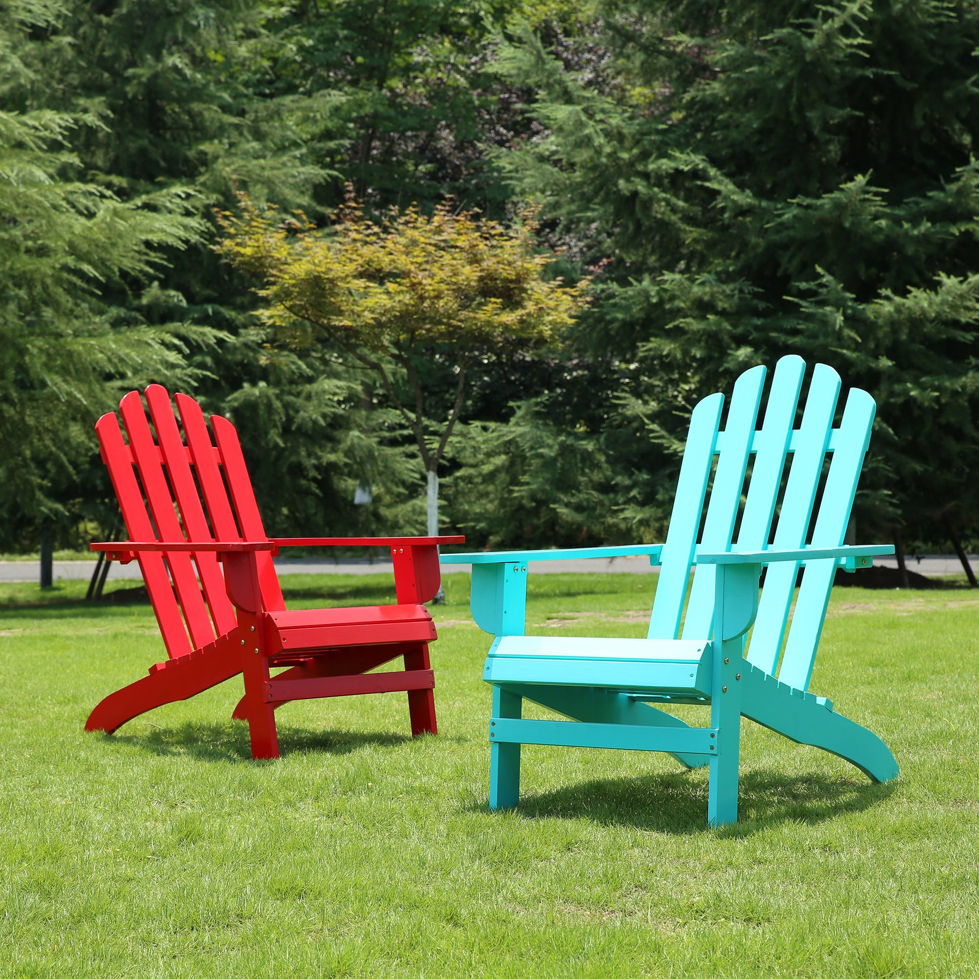 Azbro Outdoor Wooden Fashion Adirondack chair/Muskoka Chairs Patio Deck Garden Furniture,Turquoise by Azbro (Image #6)