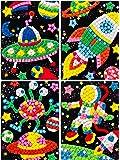 due Gattini(ドゥエガッティーニ) シール 子供 幼児 知育シール モザイクシール キューブ ステッカー 子供が集中する 幼児教育 教材 巧緻性 DIY 恐竜 宇宙 女の子 男の子 ペーパースタンド&楽しいおまけ付き プレゼント 宇宙人 宇宙飛行士 ロケット UFO (宇宙(SPACE))