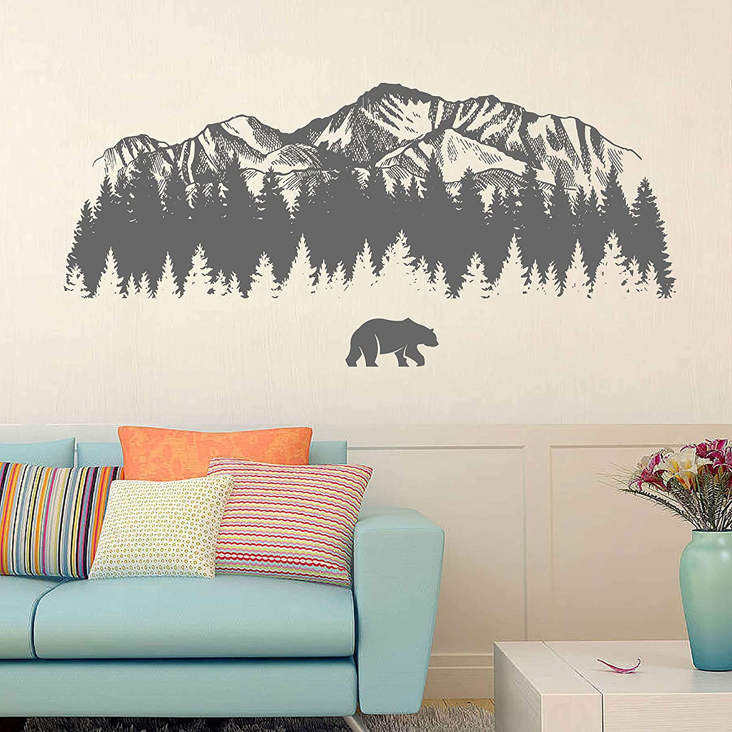 mountain wall decal art Bear wall decals for bedroom mountain wall decoration mountain wall stickers for nursery ik3428