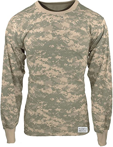 Army Universe ACU Digital Camouflage Long Sleeve Military T-Shirt with Pin  - Size Small 7e8b3197324