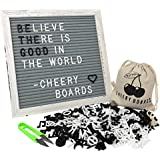 Gray Felt White Frame Vintage Changeable Letter Board with Black and White Characters, Symbols and Emojis, Attached Stand, Wall Mounting Hook, Scissors and Canvas Bag. by Cheery Boards