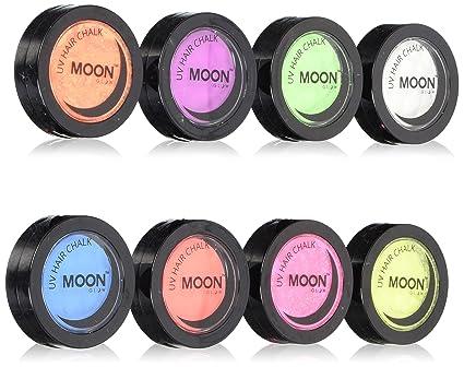 Moon Glow - Tiza para cabello UV de neón 3.5g Set de 8 colores -