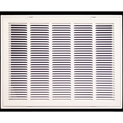 """24"""" X 10 Steel Return Air Filter Grille for 1"""" Filter - Removable Face/Door - HVAC DUCT COVER - Flat Stamped Face - White [Outer Dimensions: 26.5""""w X 12.5""""h]"""