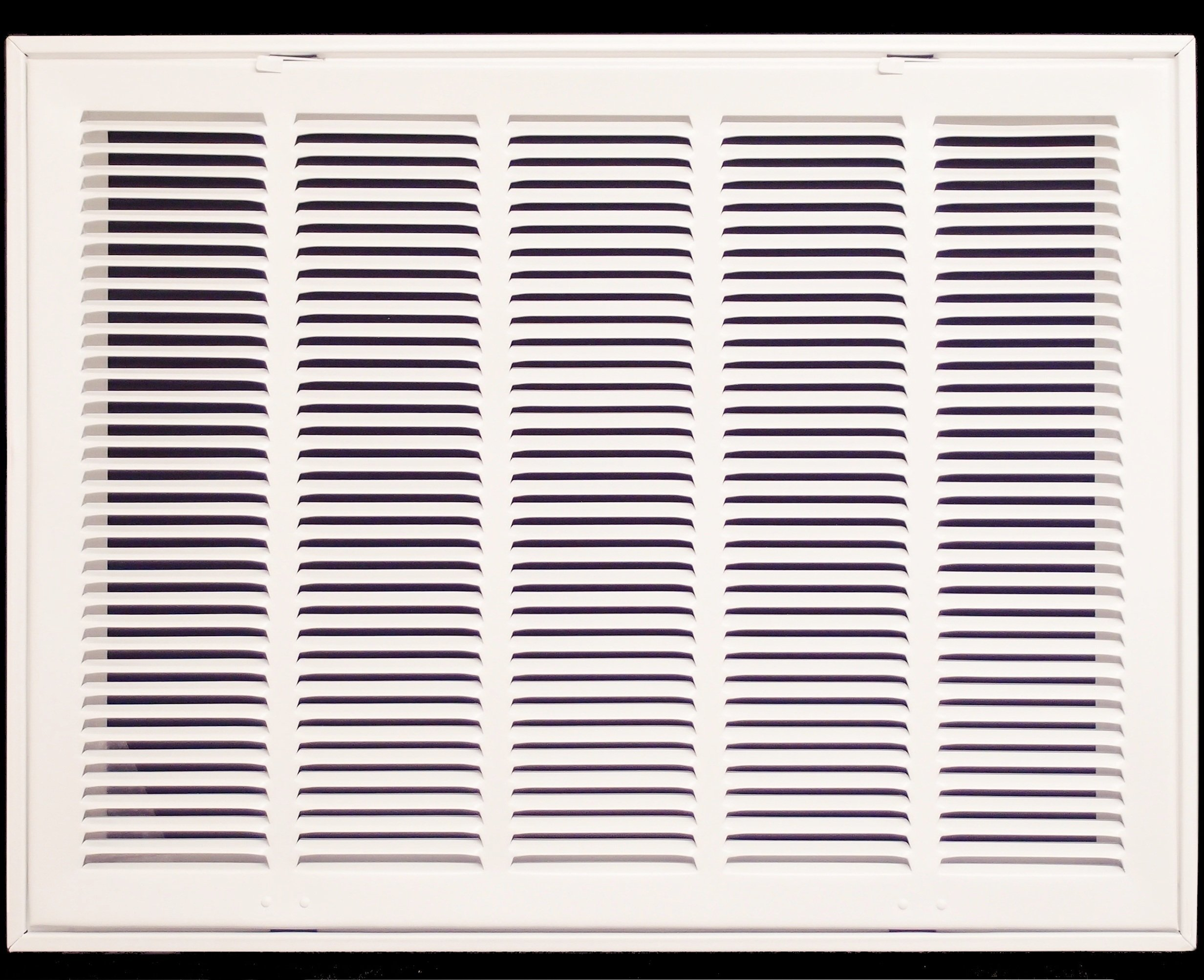 24'' X 18 Steel Return Air Filter Grille for 1'' Filter - Fixed Hinged - ceiling Recommended - HVAC DUCT COVER - Flat Stamped Face - White [Outer Dimensions: 26.5''w X 20.5''h]