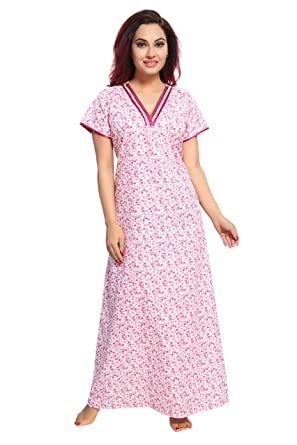 13266a941f0 TUCUTE Womens Premium Cotton Fabric Nighty Night Gown Nightwear Nightdress  Small Floral Print   with Pocket (Light Pink-2162)  Amazon.in  Clothing    ...