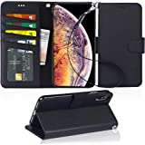 Arae Wallet Case for iPhone Xs Max PU Leather flip case Cover [Stand Feature] with Wrist Strap and [4-Slots] ID&Credit Cards