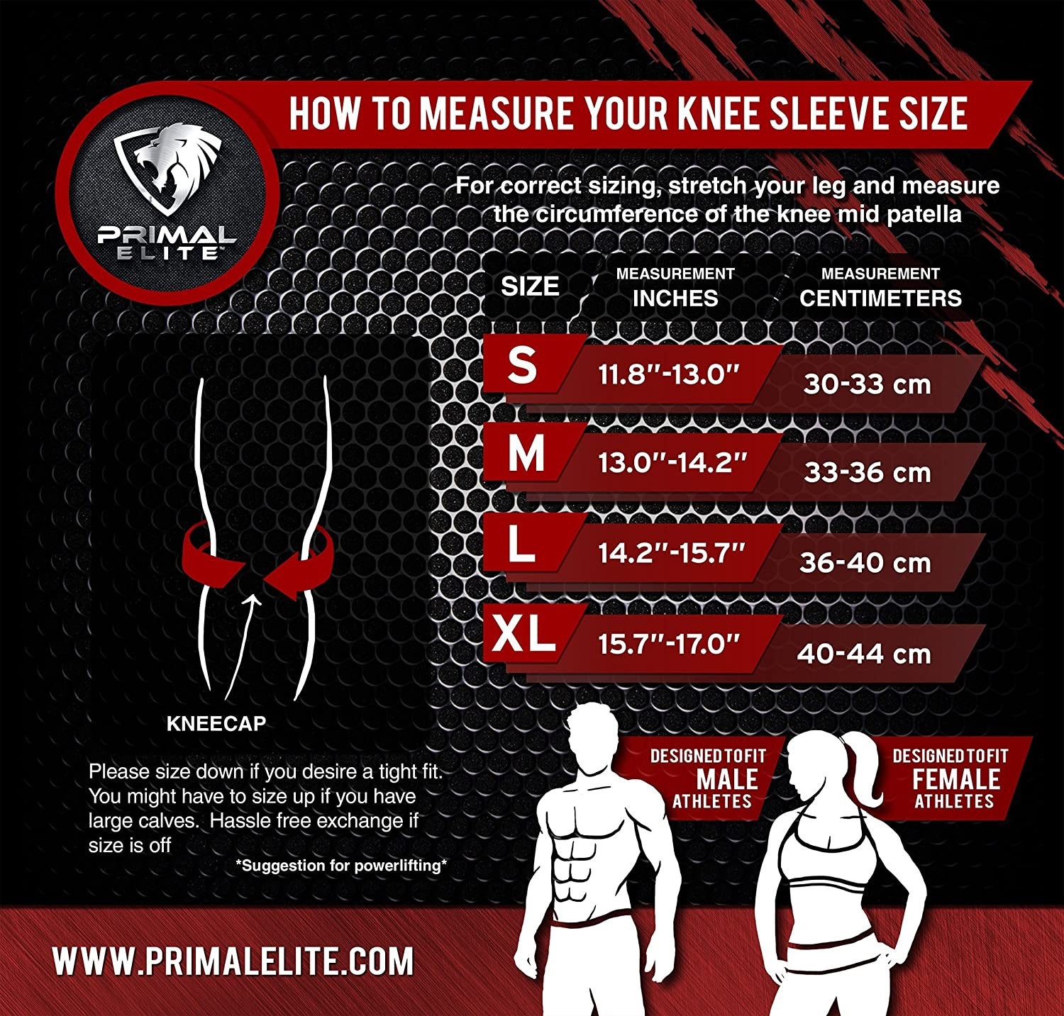 Primal Elite Knee Sleeve sizing