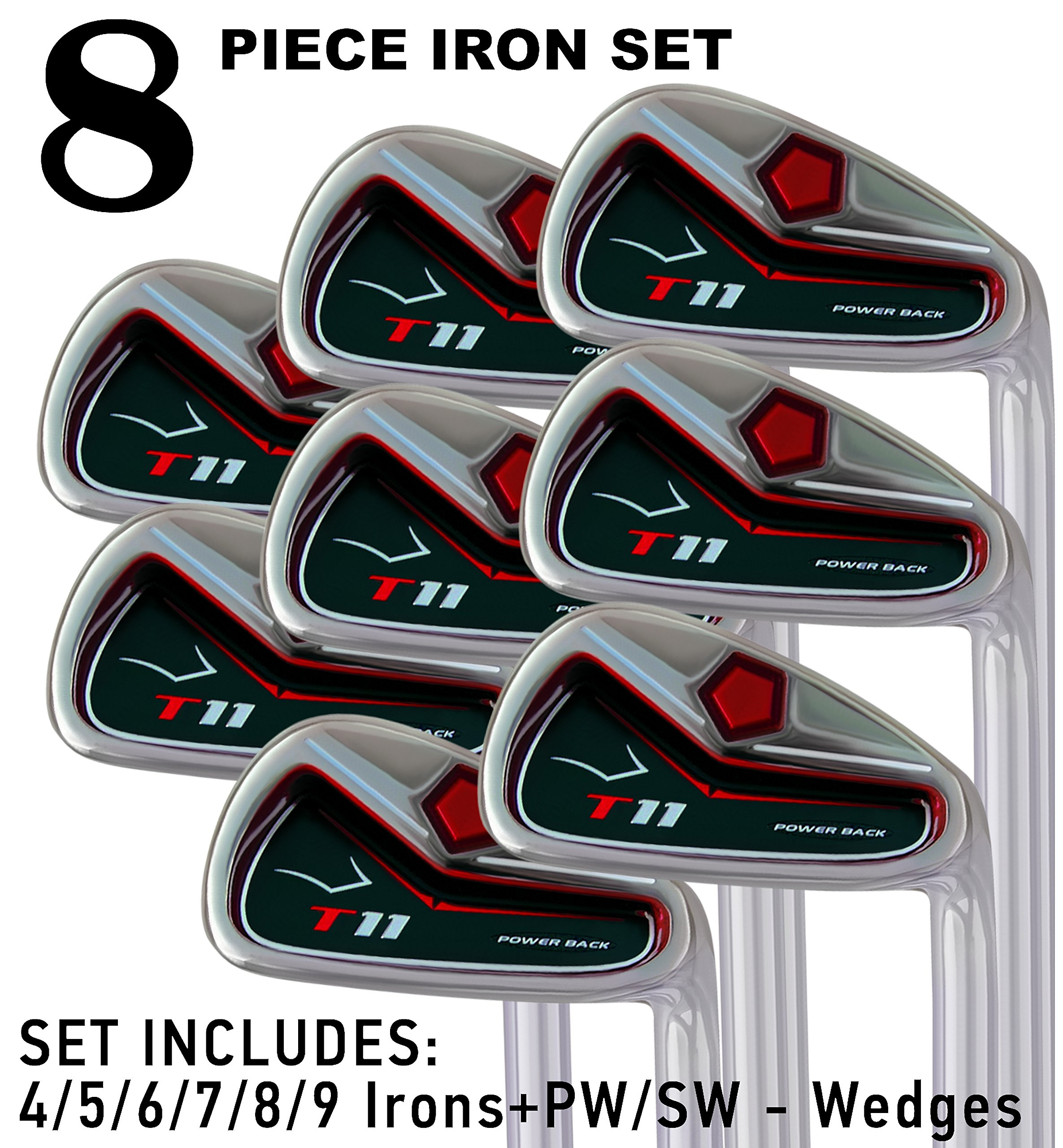 T11 Power Back Iron Set 4-SW Custom Made Golf Clubs Right Hand Regular R Flex Steel Shafts Men's Standard Irons by Pacific Golf Clubs