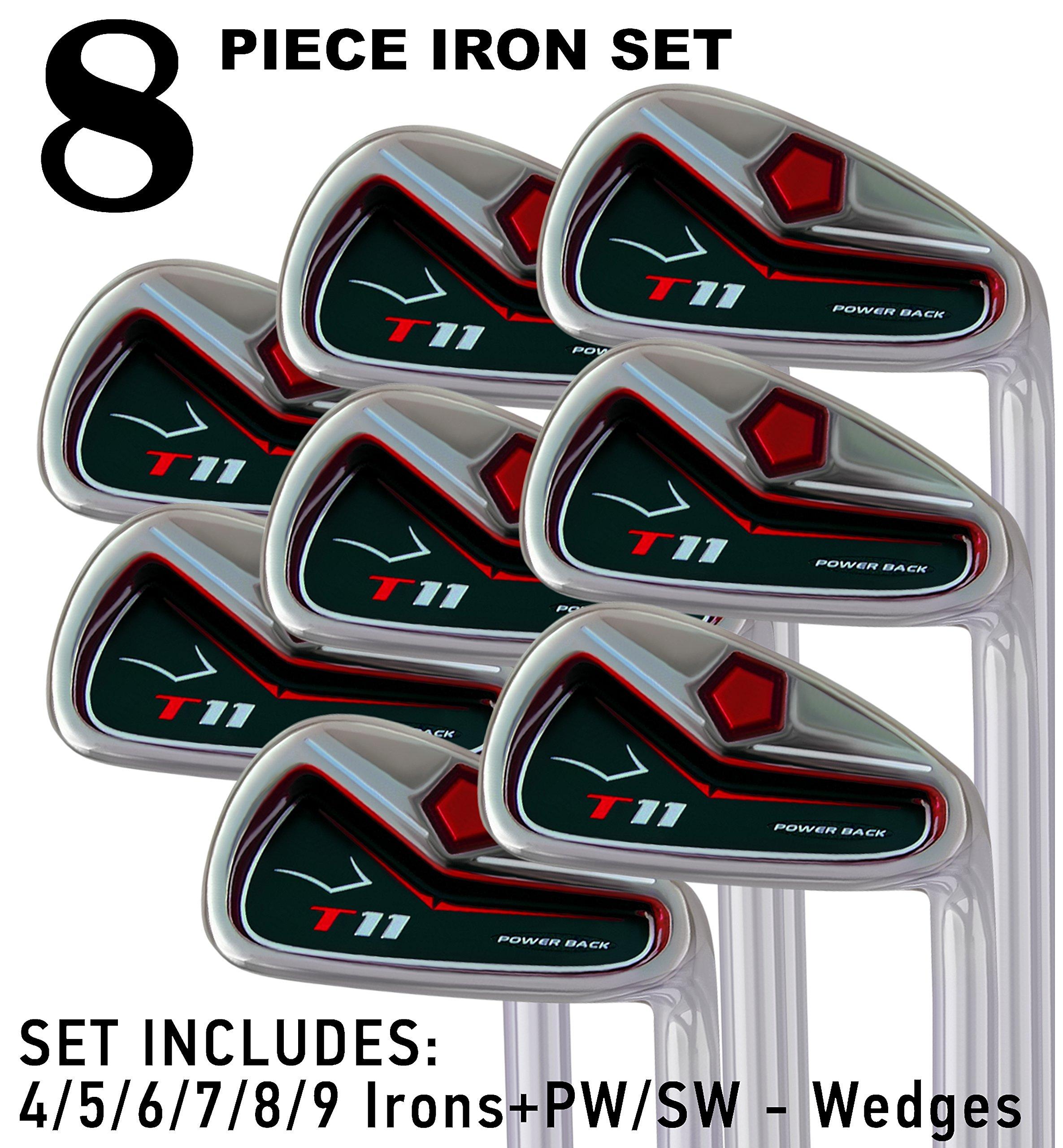 T11 Power Back Tall Iron Set 4-SW Custom Made Golf Clubs Right Hand Regular R Flex Steel Shafts JUMBO Tacki-Mac Grips +2'' Longer Men's Standard Irons