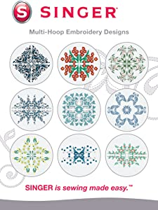 SINGER   Multi-Hoop Embroidery Designs CD for Futura with 10 Designs for SINGER Embroidery Machines - Sewing Made Easy
