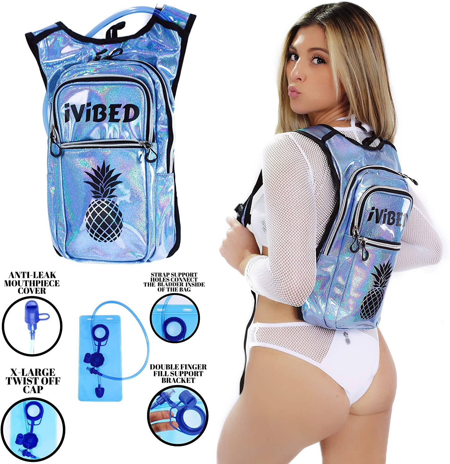 IVIBED Womens Holographic Rave Hydration Bag – EDM Backpacks Water Bags Festival Hydro