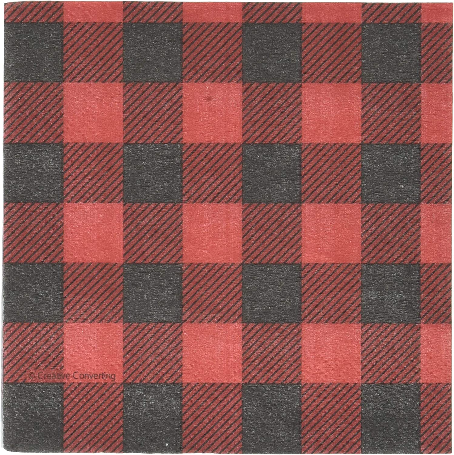 Creative Converting Buffalo Plaid Beverage Napkins Party Supplies, Multicolor