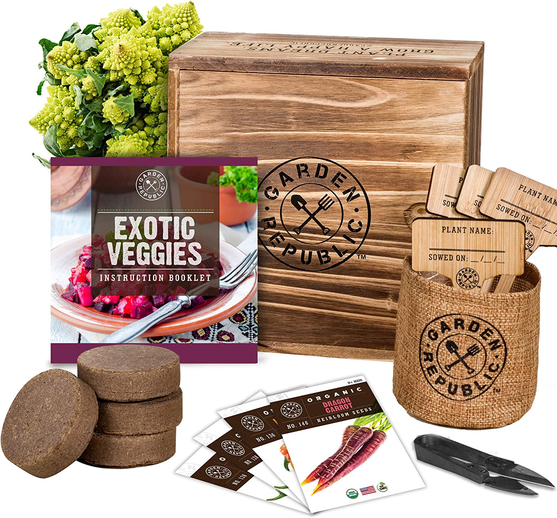 Indoor Vegetable Garden Seeds Starter Kit - 4 USDA Organic Heirloom Seeds for Planting Vegetables, Soil, Pots, Plant Markers, Trimmers, Wood Planter Box, DIY Veggie Growing Kit, Home Gardening Gifts