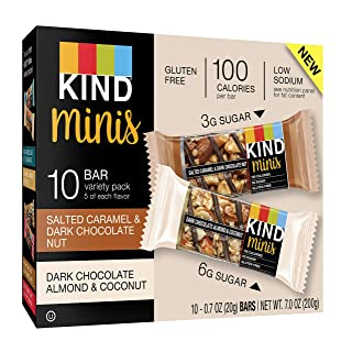 KIND Bar Mini's, Salted Caramel & Dark Chocolate Almond Coconut, Gluten Free, 100 Calories, Low Sugar, (Each 10 Count of 0.7 oz Bars) 7 oz, pack of 6