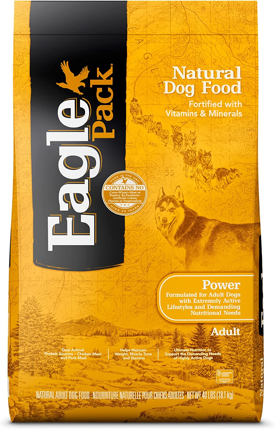 Eagle Pack Power Natural Dry Dog Food, Chicken & Pork, 40-Pound Bag
