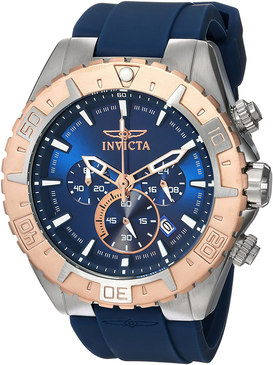 Invicta Men s Aviator Stainless Steel Quartz Watch with Silicone Strap, Blue, 26 Model 22523