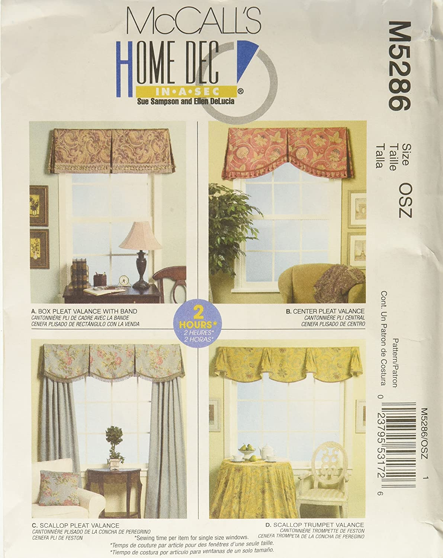 Amazon.com: McCall\'s Patterns M5286 Window Valances: Arts, Crafts ...