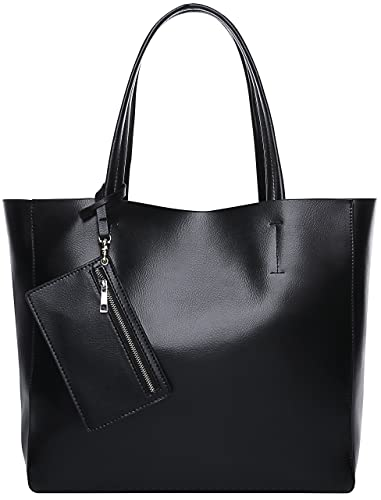 145e03e12b9d Amazon.com: Kenoor Large Capacity Leather Tote Shoulder Bag Set 3 ...