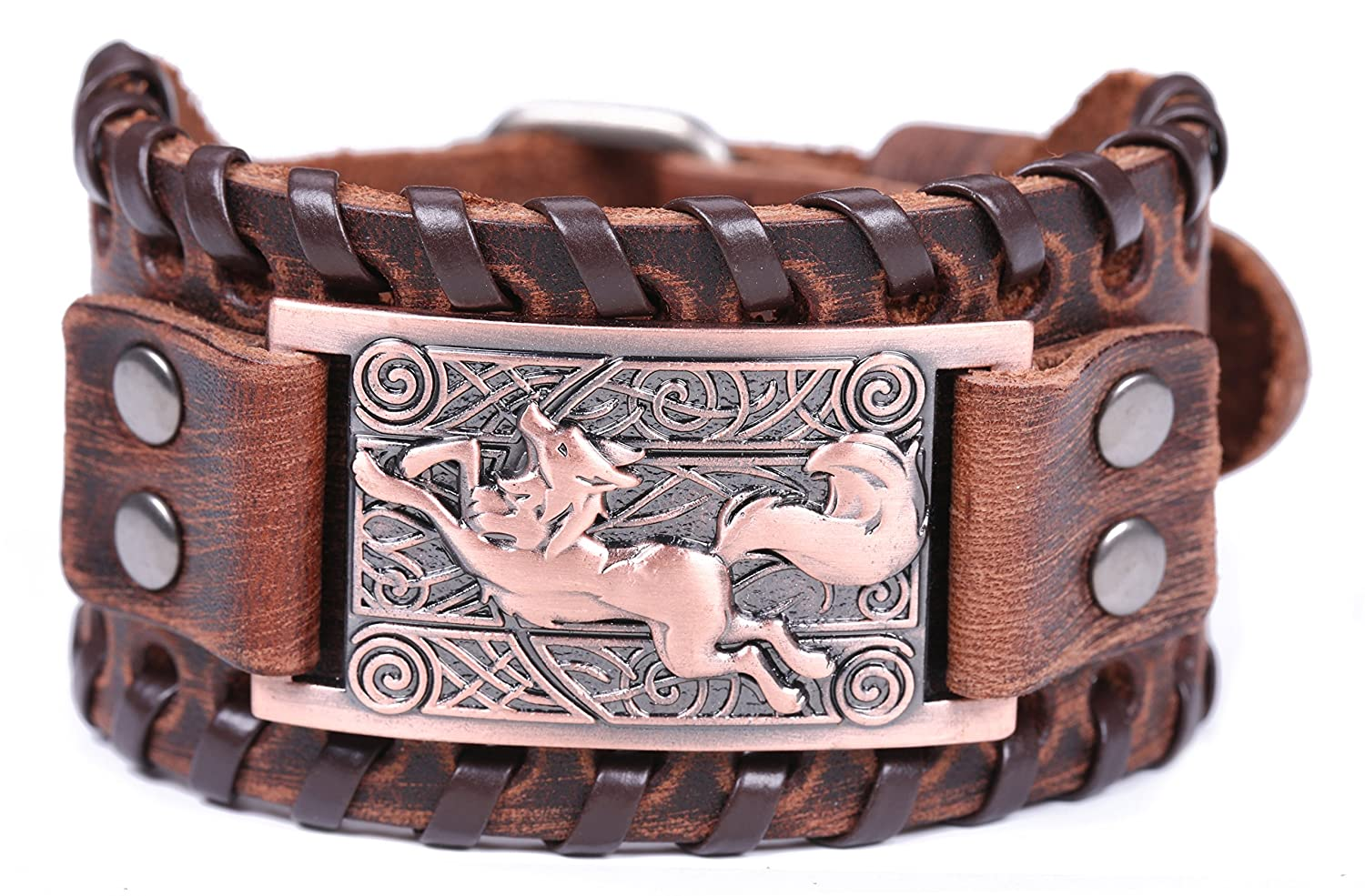 VASSAGO Vintage Amulet Nordic Viking Wolf Celtic Knot Metal Charm Brown Leather Bracelet Spiritual Animal for Men/Women Gift Antique Bronze) YiYou