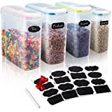 4 Large Cereal/Dry Food Kitchen Storage Container Set in 2 Sizes - w/Colorful Airtight Lids - BPA Free - 24 FREE Chalkboard Labels & Marker - Great for Pasta, Rice, Sugar, Flour, Dog/Cat Food & More