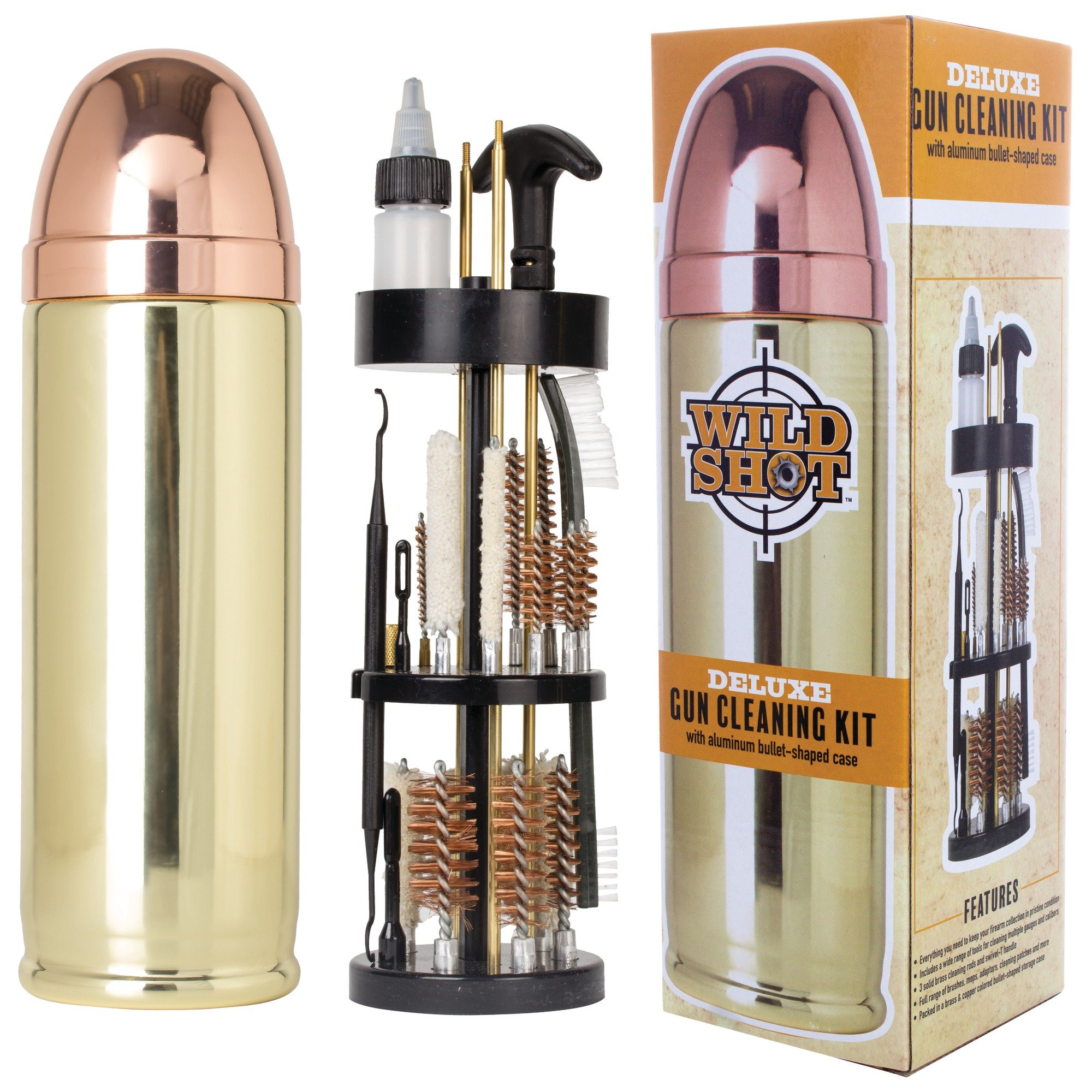 Wild Shot Deluxe Gun Cleaning Kit with Aluminum Bullet-Shaped Storage Case, Cleaning Tools to Effectively Maintain Handguns, Shotguns and Rifles by Maxam