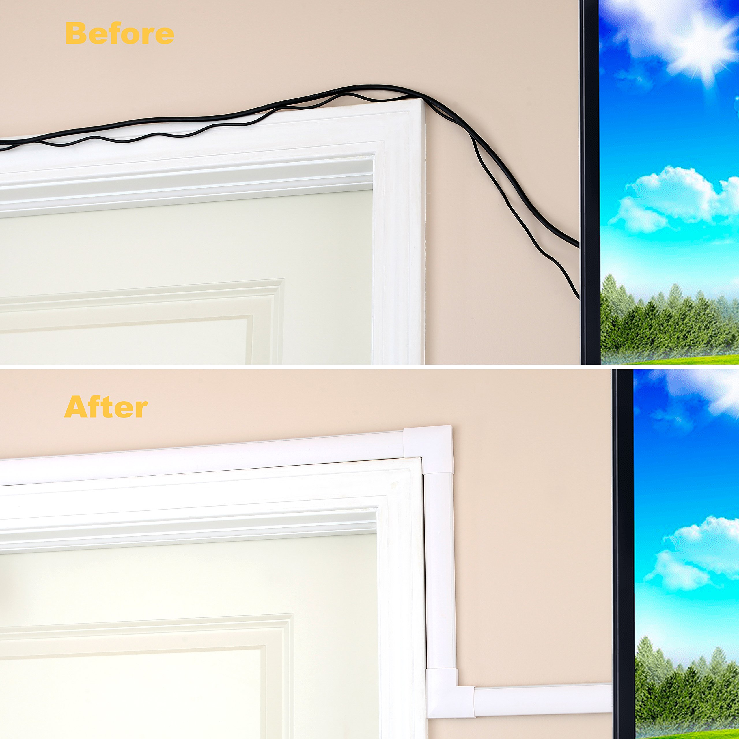 Cord Concealer System Covers Cables, Cords Wires - Cable Cover Management Raceway Kit Hiding Wall Mount TV Power Cords in Home Office - SimpleCord by SimpleCord (Image #6)