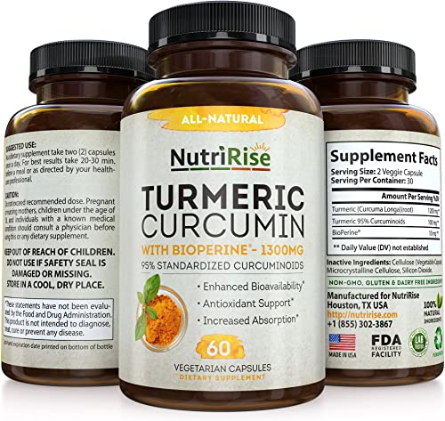 Turmeric Curcumin with BioPerine – 1 Best Joint Supplement for Pain Relief Joint Support, Vegan Turmeric Capsules with 100 Pure Turmeric Root Curcuma Black Pepper, 60 Turmeric Pills