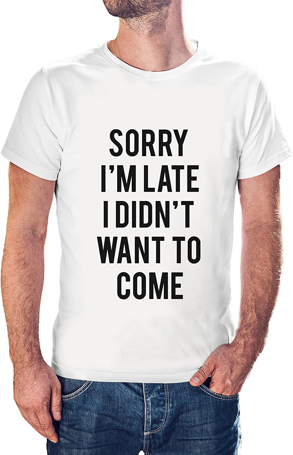 BlackMeow Sorry Im Late I Didnt Want To Come Hombre White T-Shirt