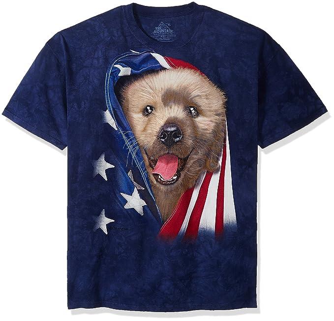 c03a5d4c1f The Mountain Adult Unisex T-Shirt - Patriotic Golden Pup