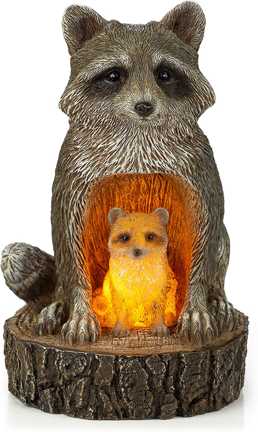 VP Home Mom and Baby Rustic Raccoons Solar Powered LED Outdoor Decor Garden Light