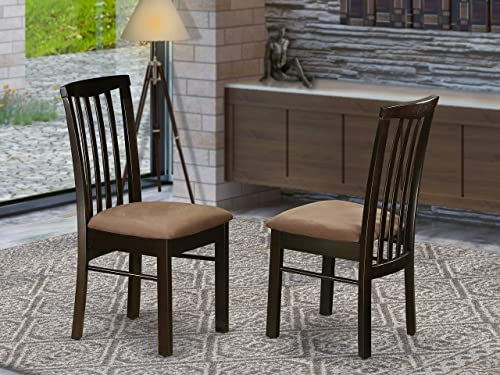 East West Furniture Dining Room Chair Set with Cushioned Seat, Set of 2, Cappuccino Finish
