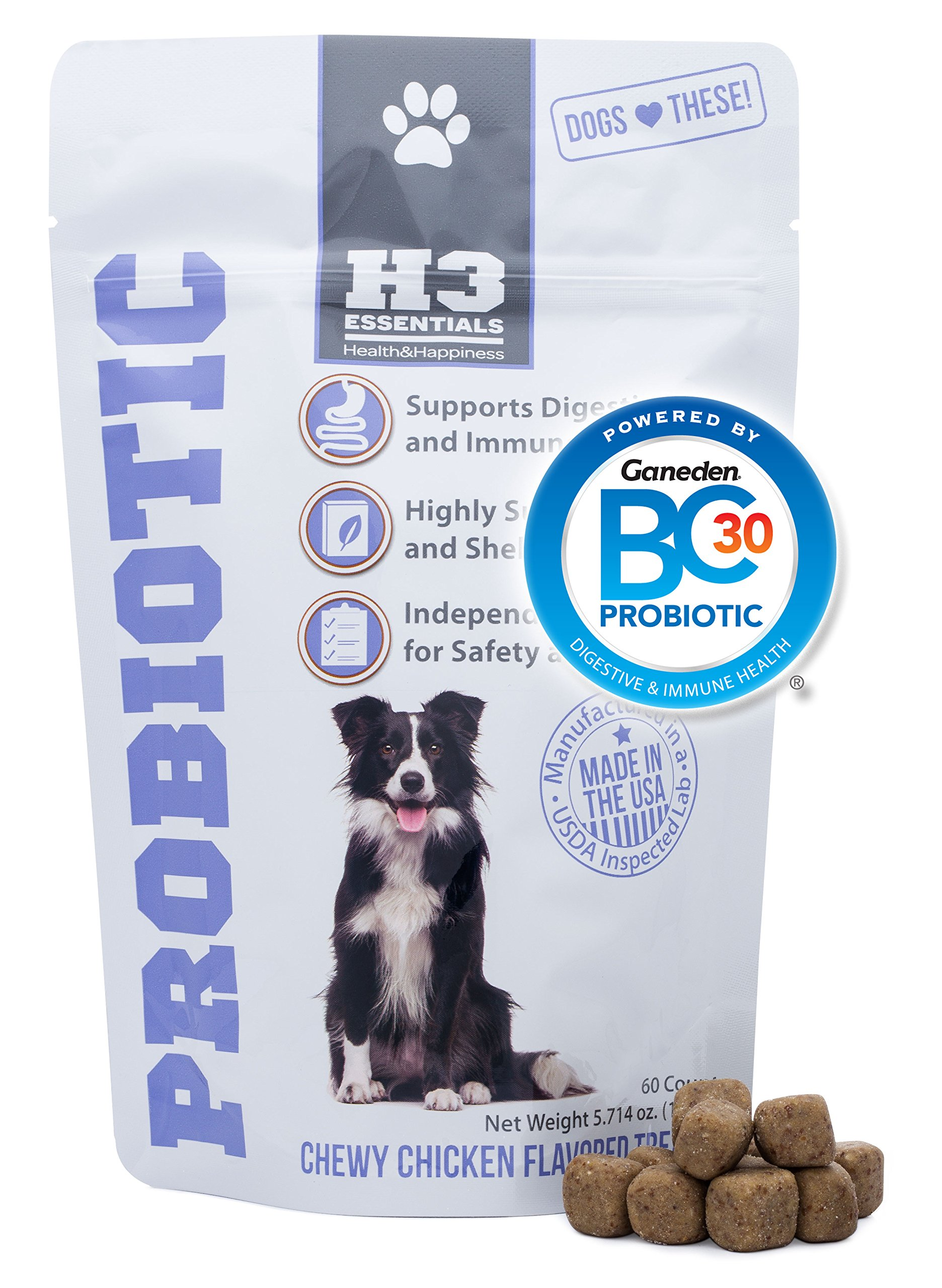 H3 Essentials - Probiotics for Dogs - for Immune and Digestive Health - Chicken Flavor - 60 Pieces by H3 Essentials