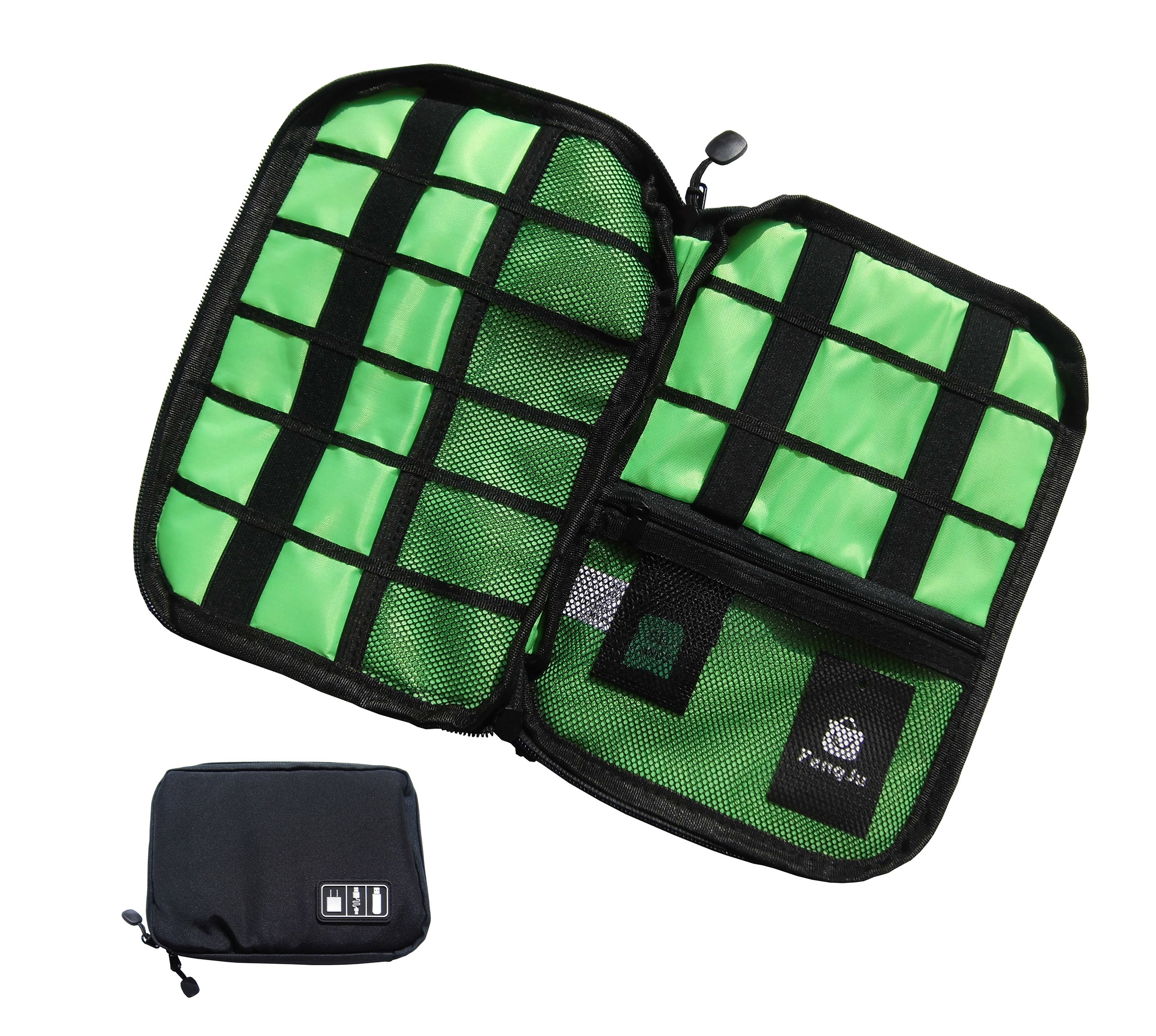 Electronics Organizer Electronics Accessories Travel Cable Case Bag for Hard Drives, Various USB, Phone, Charger and Cable, Black