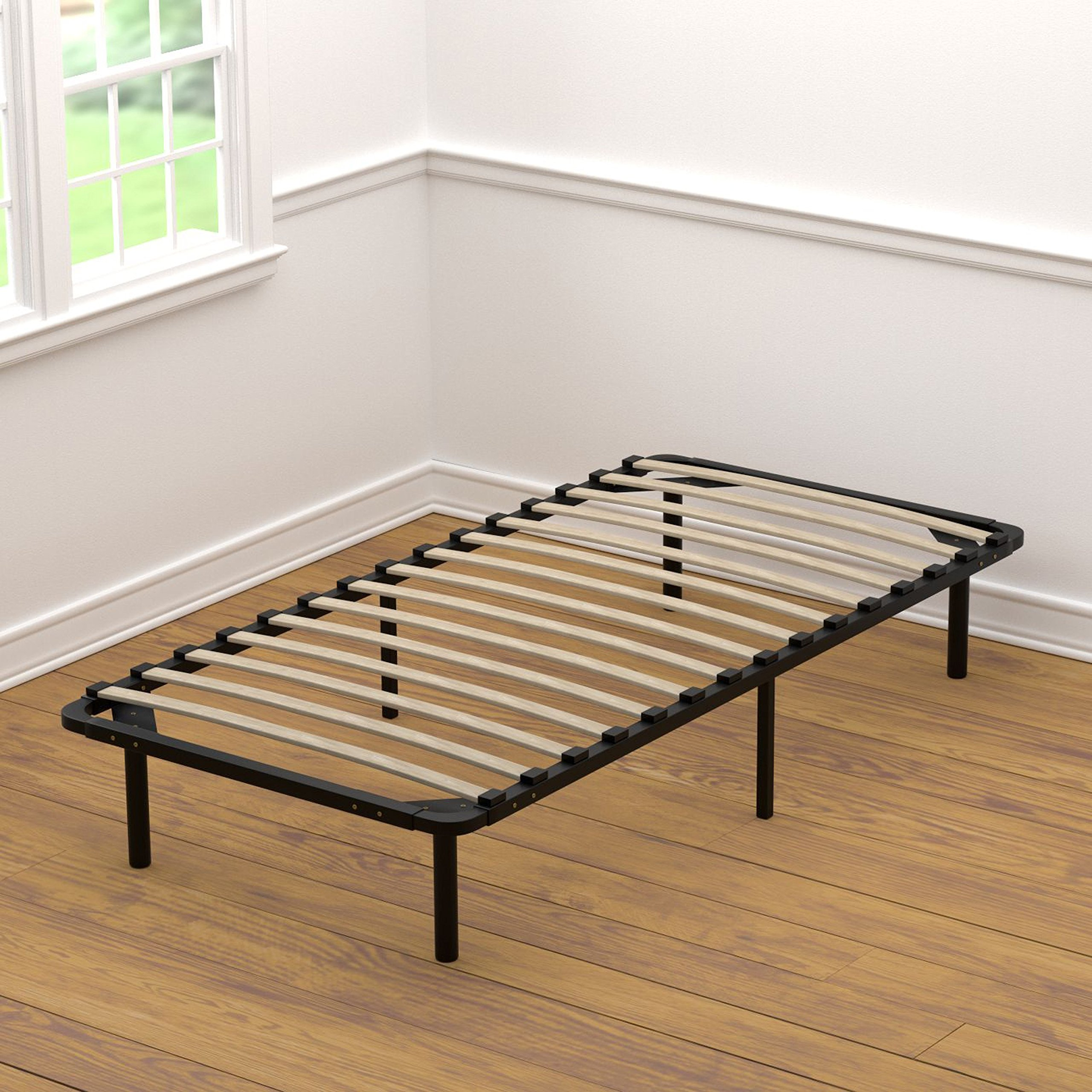Handy Living Platform Bed Frame - Wooden Slat Mattress Foundation/Box Spring Replacement, Twin-XL by Handy Living