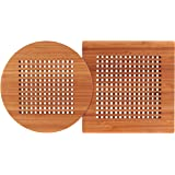"Totally Bamboo Lattice Trivets, Durable and Beautiful Bamboo Protects Tabletops and Counters in Style, Round is 8"" Diameter and Square is 8"" by 8"" and 1/2"" Thick"