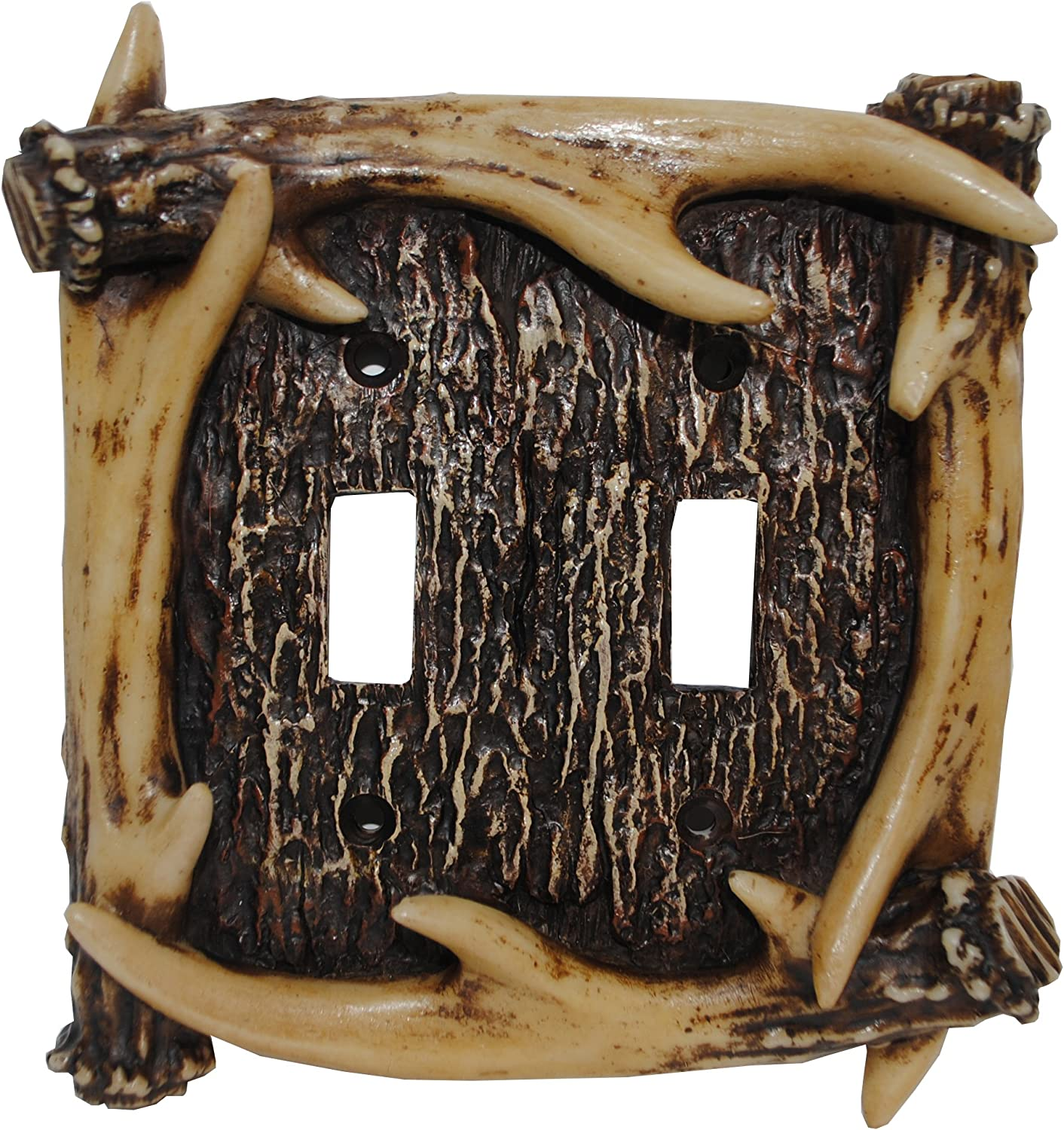 HiEnd Accents LD8200-DS-OC Rustic Antler Double Switch Decorative Wall Plate, 5