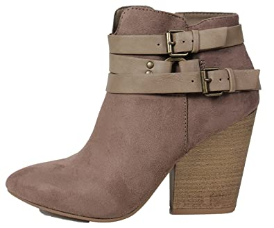 Women's Almond Toe Triple Multi Strap Stacked Heel Ankle Bootie