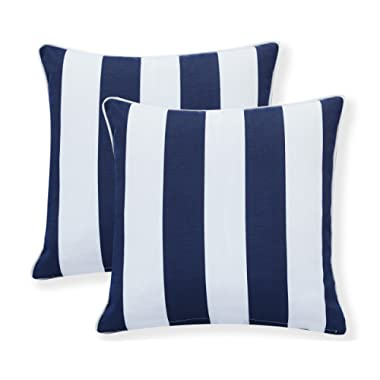 Decor Venue Water Resistant Indoor/Outdoor Square Patio Decorative Stripe Throw Pillow Cushion - Set of 2-18  x 18  - Navy