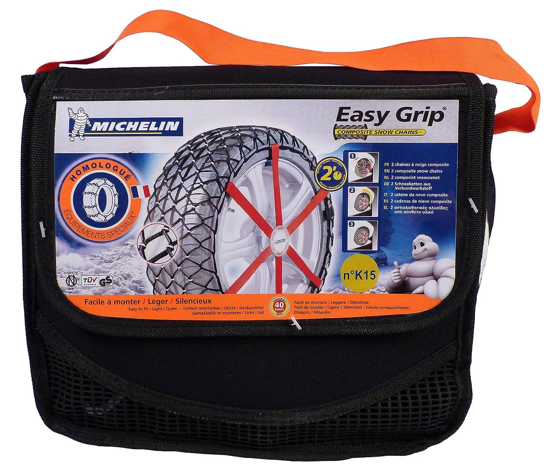 2 pezzi ABS e ESP compatibile Michelin 92302 Catene da neve in tessuto Easy Grip J11 T/ÜV//GS e /ÖNORM
