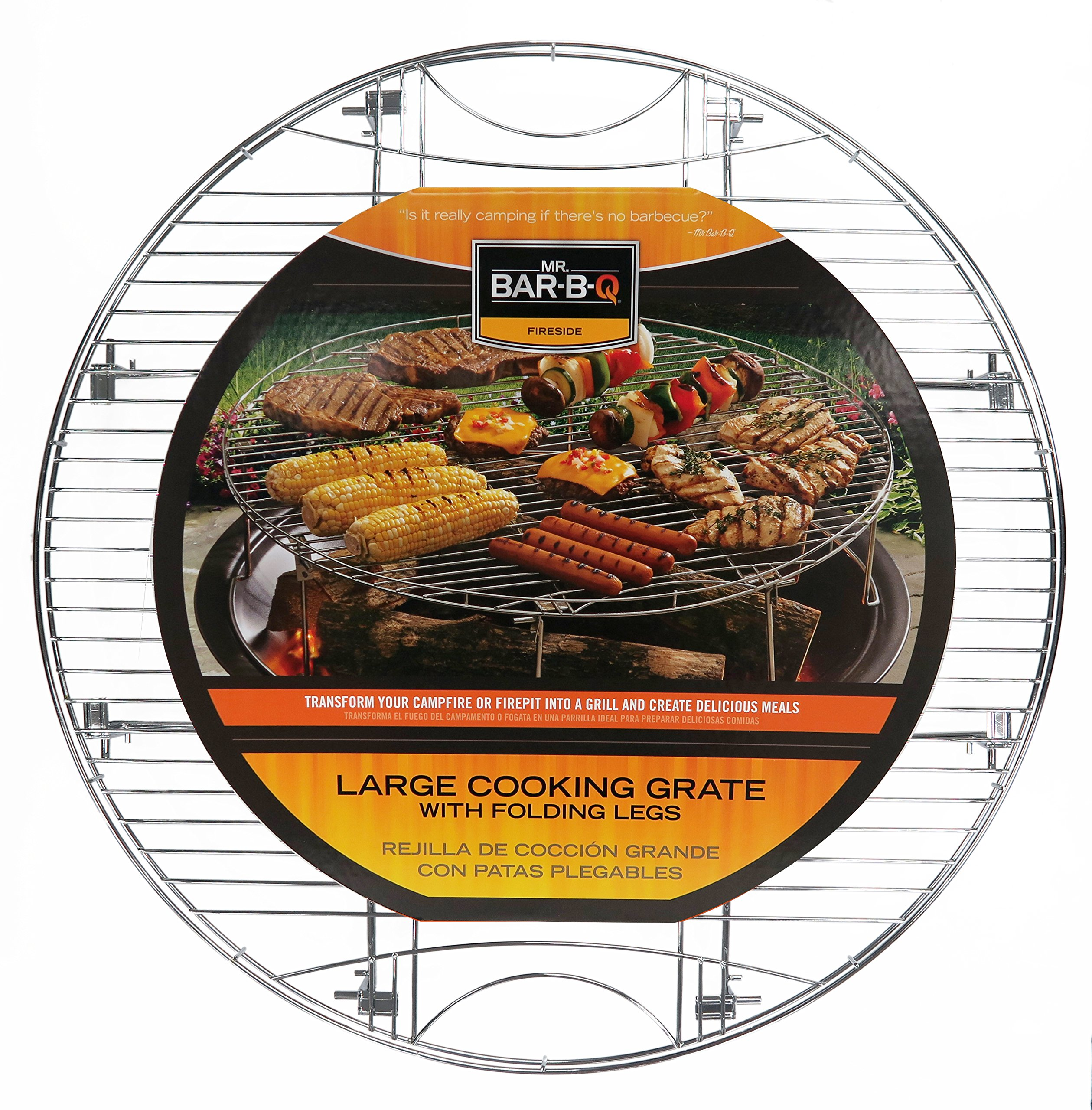 Mr. Bar-B-Q 08600YFS Large Round Cooking Grate with Folding Legs, Silver