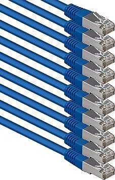 1aTTack.de® 0,25m - Azul - 10 Piezas - CAT6 Cat 6 Ethernet LAN Cable de Red Set 1000 Mbit/s CAT6 Doble blindado PIMF 250MHz Libre de halógenos ...