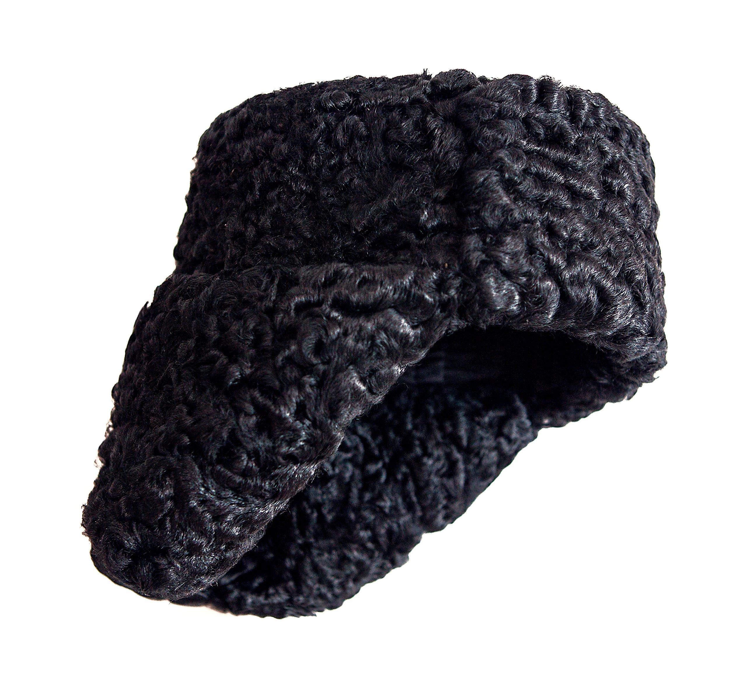 Karakul Astrakhan Fur Sheepskin Ushanka Hat. Black. 63 by Ushanka company (Image #2)