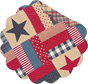 C&F Home Bennington 17'' x 17'' Round Placemat Set of 6 Reversible Stars Stripes 4th of July USA Patchwork Table Mat for Kitchen Dining Table Round Placemat Set of 6 Blue