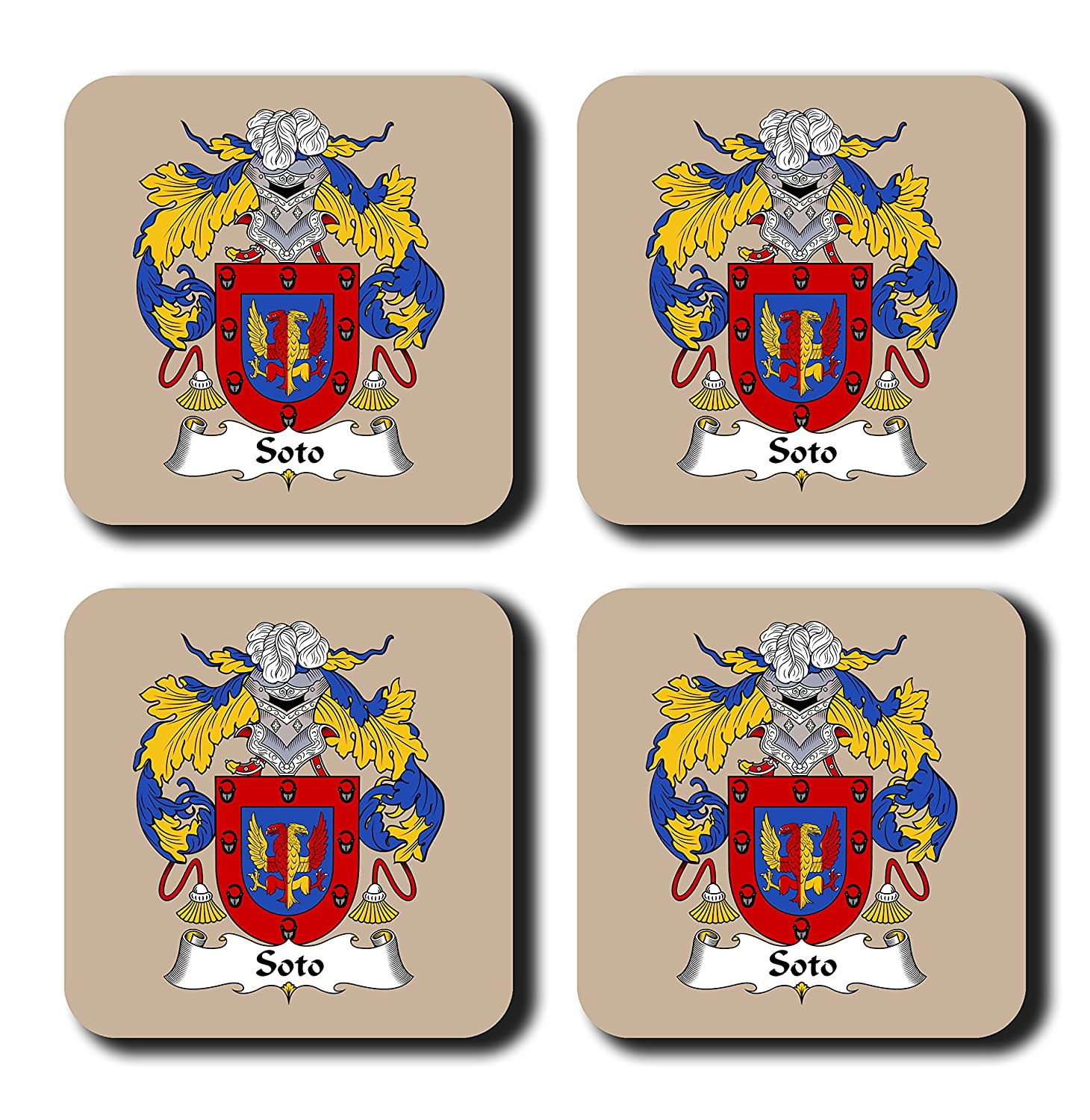 Soto Coat of Arms /家紋コースターセット、by Carpe Diem Designs – Made in the U。S。A。 ベージュ Coaster-FC-Soto-Tan  タン B078WZ8FQT