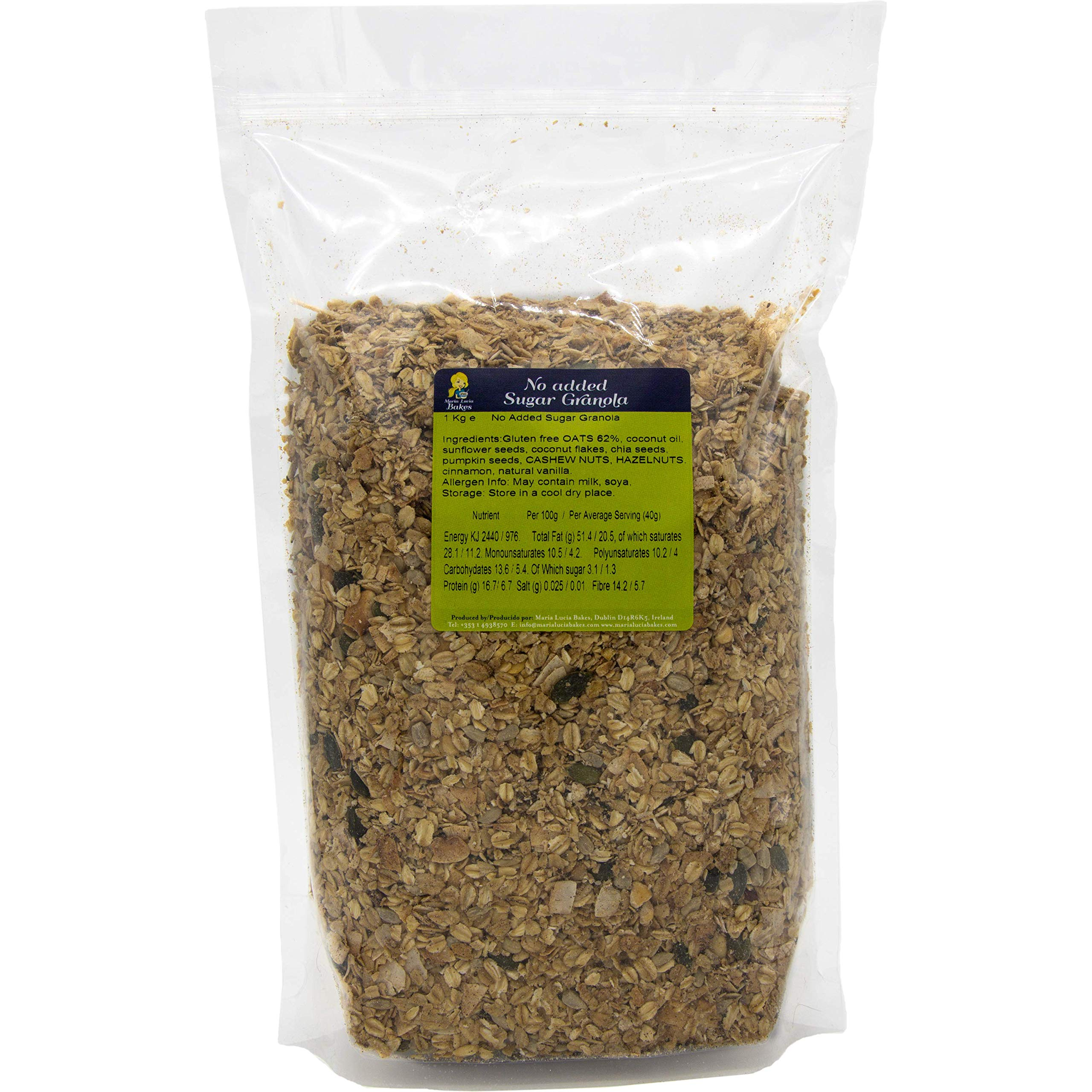 Granola with No Added Sugar 1kg Resealable Bulk Bag - No Gluten, Wheat or Dairy - Ideal for Diabetics - Healthy & Natural Breakfast Cereal - High in Fibre & Protein - by Maria Lucia Bakes