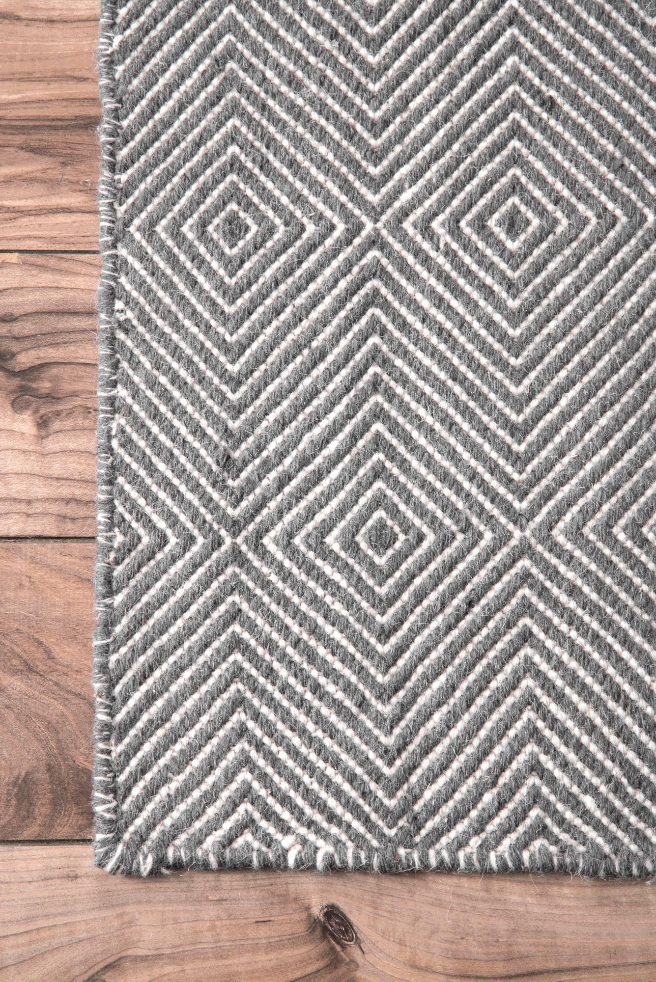 nuLOOM Handmade Fancy Trellis Wool Paddle Runner Area Rugs, 2' 6'' x 8', Grey by nuLOOM (Image #4)
