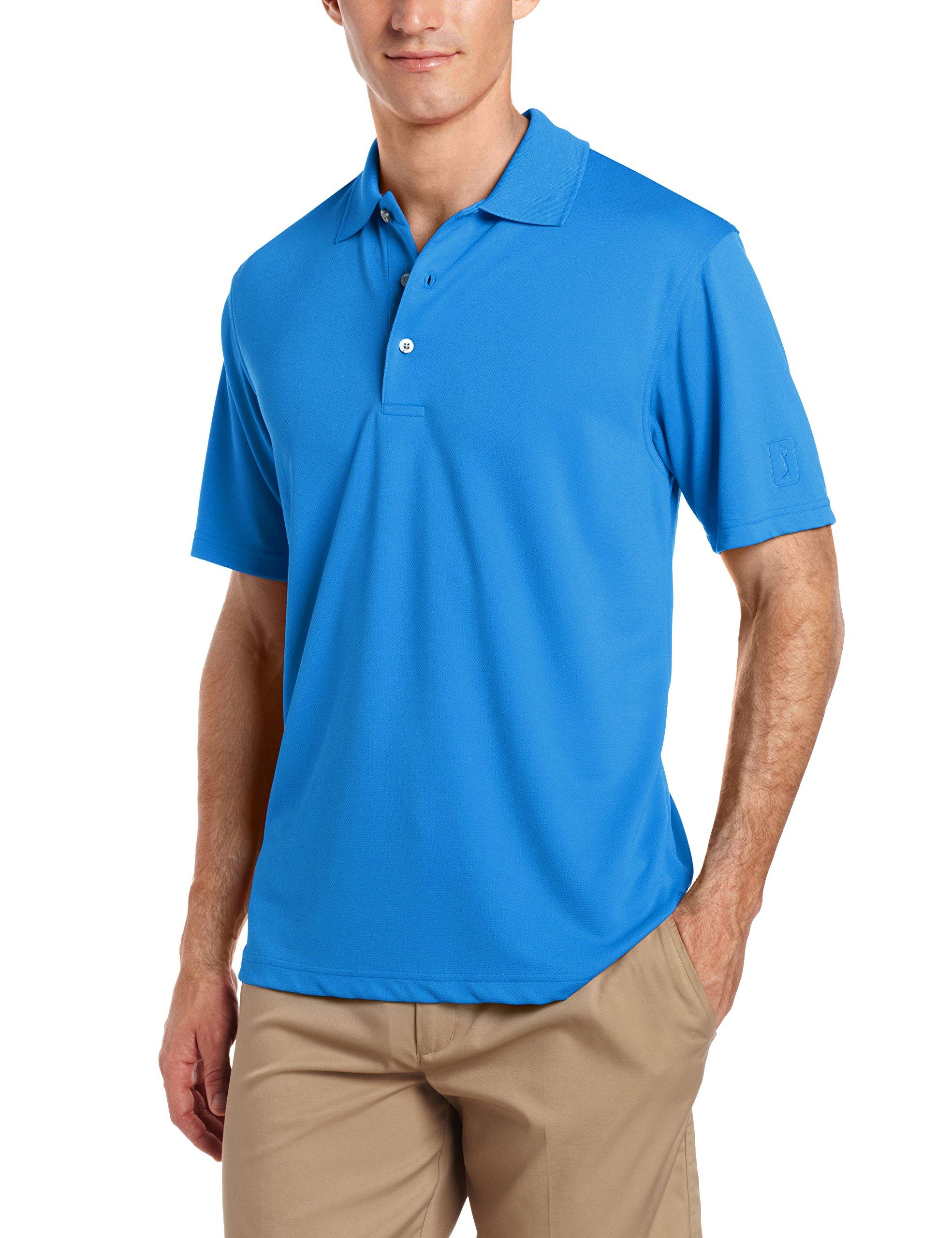 PGA TOUR Men's Short Sleeve Airflux Solid Polo Shirt, Classic Blue S
