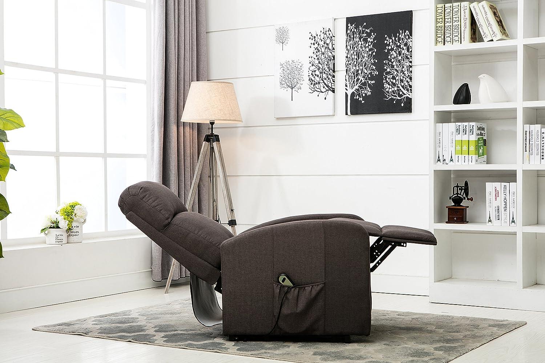 Amazon.com: Divano Roma Furniture   Classic Plush Power Lift Recliner  Living Room Chair (Dark Grey): Kitchen U0026 Dining