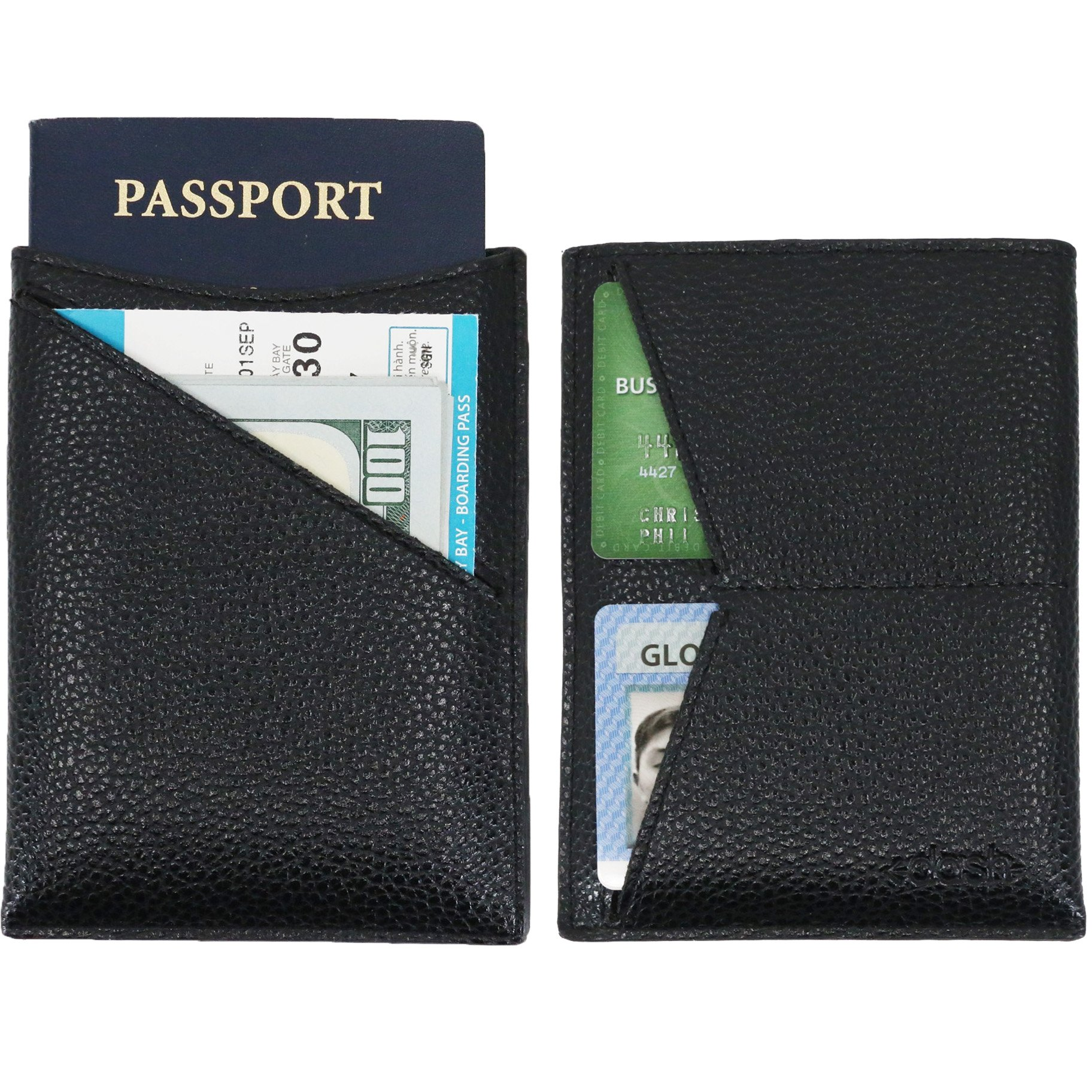 Dash Co. Passport Wallet : Minimalist RFID Sleeve for Travel Stops Electronic Pick Pocketing Works Against Identity Theft & Credit Card Data Breach (Classic Leather) by Dash Wallets
