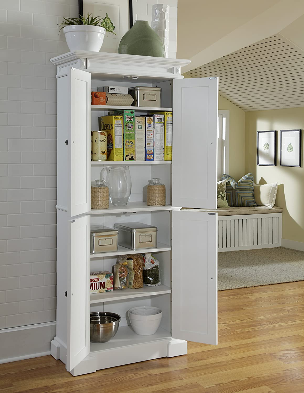 Amazoncom americana home decor - Amazon Com Home Styles 5004 692 Americana Pantry Storage Cabinet White Finish Kitchen Dining